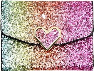 Women Glitter Sequins Purse Short Trifold Wallet Bling Card Holder Clutch