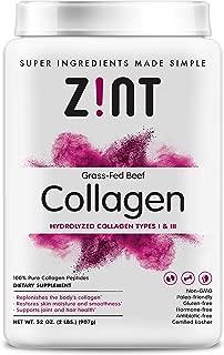 Zint Collagen Peptides Powder XL (32 oz): Paleo-Friendly, Keto-Certified, Grass-Fed Hydrolyzed Collagen Protein Supplement - Unflavored, Non GMO