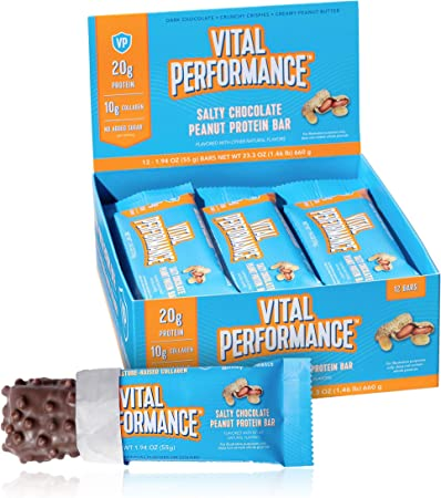 Vital Performance Protein Bar, Healthy Snacks, 20g of Protein, 10g of Collagen Peptides, Gluten Free, 2-3g of Sugar, Low Lactose, 12 Pack, Salty Chocolate Peanut
