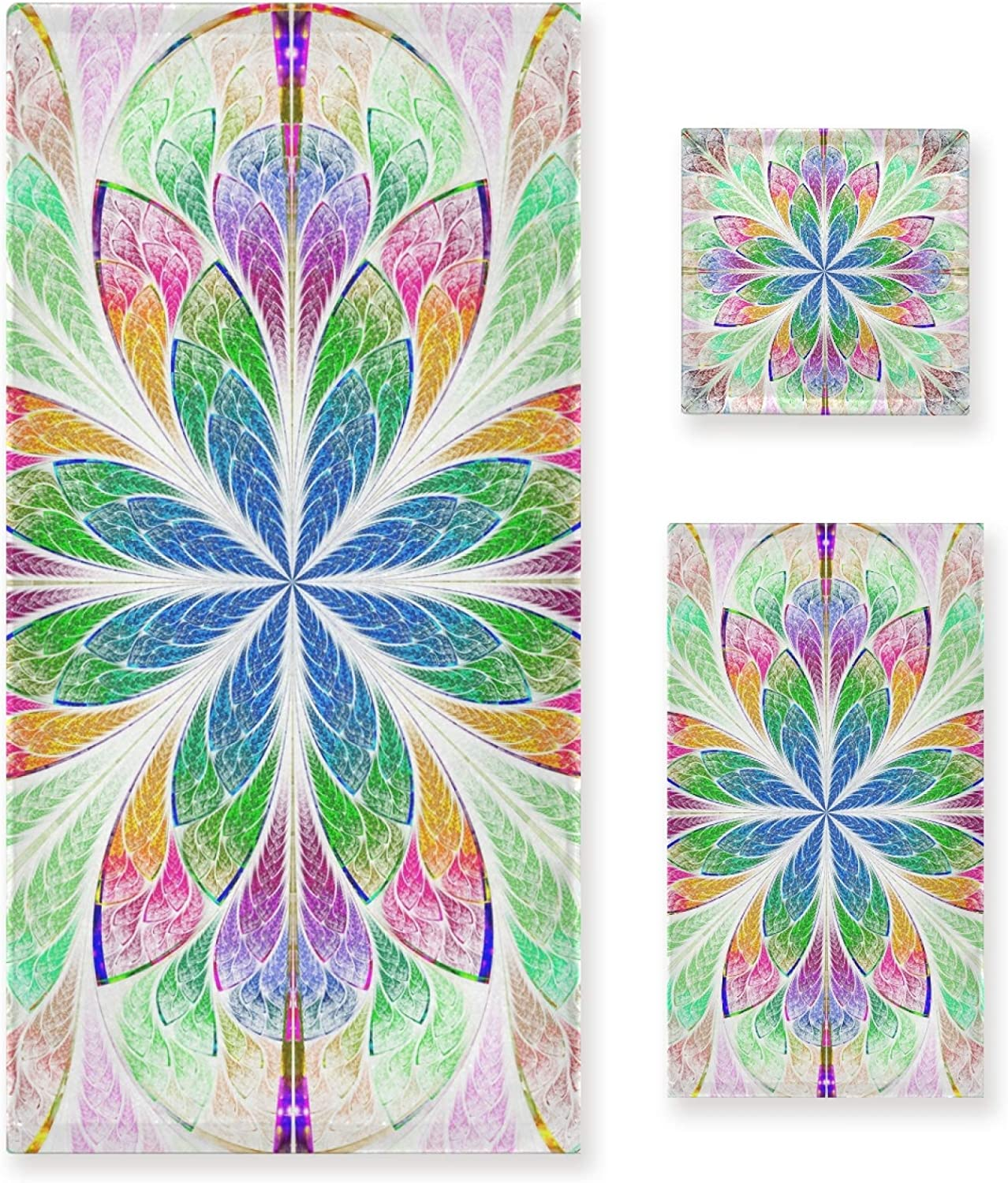 Sale price LUPINZ Multicolor Fractal Ranking TOP19 Pattern in Glass T Hand Stained Towels