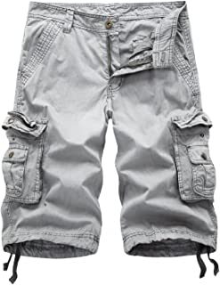 AOYOG Mens Camo Cargo Shorts Relaxed Fit Multi-Pocket Outdoor Camouflage Cargo
