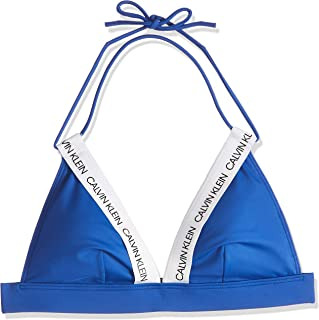 Calvin Klein Womens Fixed Triangle-Rp Bra, Color: Blue, Size: S