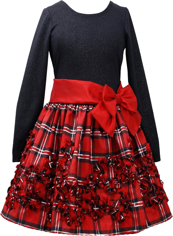 Bonnie Jean Christmas Bodice RED Bonaz Accented Plaid Skirted Dress