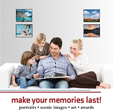 Mantello Front Loading Black Picture Frame 8x10 - Set of 6 - Table Desk Wall hanging For Artwork Documents - Family Gallery M