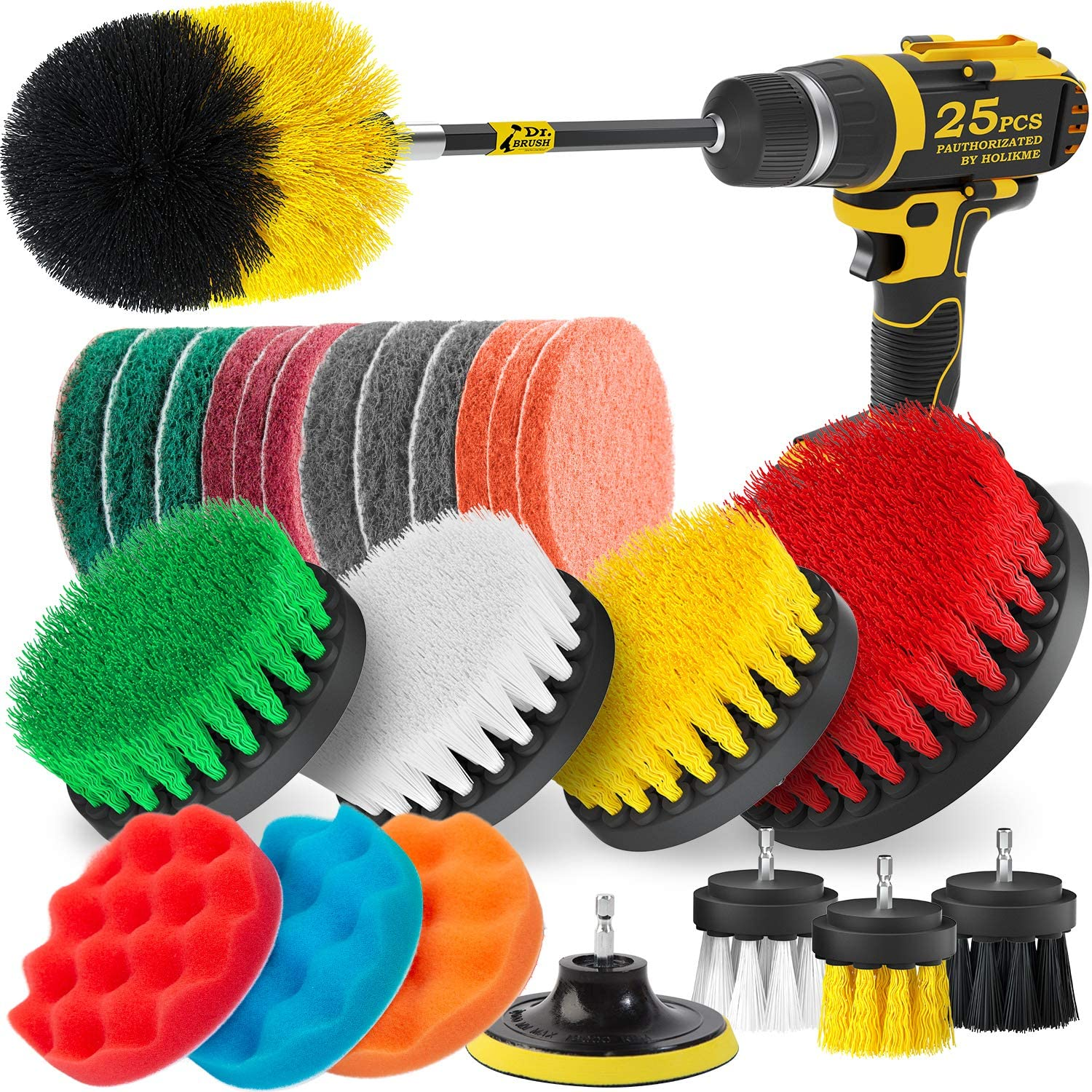 Holikme 25Piece Drill Brush Attachments Set,Scrub Pads & Sponge, Power Scrubber Brush with Extend Long Attachment All Purpose Clean for Grout, Tiles, Sinks, Bathtub, Bathroom, Kitchen : Health & Household