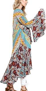 Umgee Womens Ruffled Long Body Kimono with a Multicolored Print