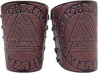 XDXDO Guardeurs de Bras Cosplay Cuir PROTECTEURS avec Viking Runes Odin, Medieval Unisex Faux Back Bracer Bracer