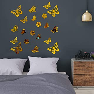 Best Decor Butterfly Golden Code 630 Acrylic Mirror 3D Wall Sticker Decoration for Kids Room/Living Room/Bedroom/Office/Ho...