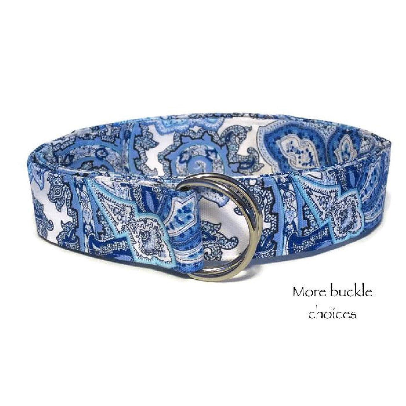 Women's Fabric Belt/Blue Belt/Women's D-ring Belt/Blue and White Paisley Fabric Belt/Wide Belt Skinny Belt/Waist Belt/XS to Plus Size Belt