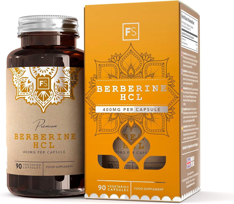 FS Berberina HCL 400mg | 90 Capsulas Veganas | Berberina con Extracto de Pimienta Negra Para una Mejor Absorción | Fabricado en Instalaciones con Licencia ISO | Sin Gluten