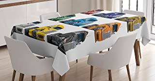 Ambesonne Truck Tablecloth, Colorful Semi Trucks Transportation of Goods Theme Shipping Driving Cartoon Design, Dining Room Kitchen Rectangular Table Cover, 52