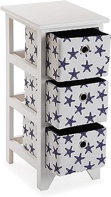 Versa Starfish Meuble pour la Salle de Bain, Commode avec 3 tiroirs pour Organiser, Rangement Moderne, Dimensions (H x l x L) 58 x 29 x 23 cm, Bois, Couleur: Bleu