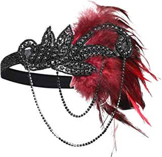 1920s Flapper Headband Roaring 20s Great Gatsby Feather Headpiece