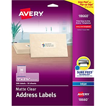 """Avery Matte Frosted Clear Address Labels for Inkjet Printers, 1"""" x 2-5/8"""", 300 Labels (18660)"""