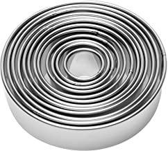 12 Pieces Round Biscuit Cookie Cutter Set - Stainless Steel Circle Donut Cutter Molds Assorted Size - Including One Tin Bo...