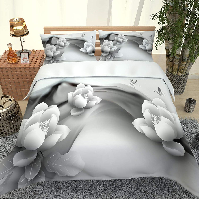 YUEKDA Bedding Duvet Cheap SALE Start Cover Set 3D Art Flower and Black Max 90% OFF White 1