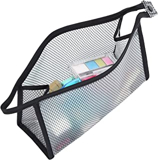 HOYOFO Makeup Travel Zipper Pouch Clear Toiletry Bags Water Resistant Solid Reinforced PVC Mesh Plastic (Black)