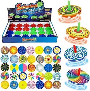 Liberty Imports Design-Your-Own Mini Spinning Tops - LED Light Up Spin Toy with DIY Colorful Stickers - Novelty Bulk Toys Party Favors (Pack of 24)