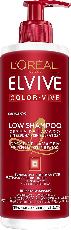 LOreal Paris Elvive Low Shampoo Champú, para cabello teñido - 400 ml