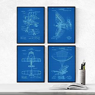 Nacnic Blu - Confezione da 4 Fogli Airplanes Brevetto. Impos