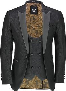 Xposed Men's Retro Damask Print Dinner Suit Jacket Black Peak Lapel Tailored Fit Tuxedo Blazer & Waistcoat