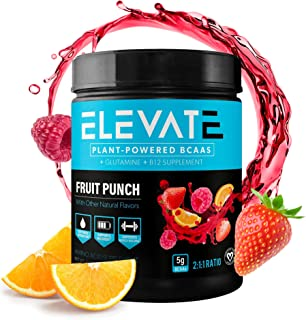 Plant Based Vegan BCAA Powder with B12 and Glutamine, BCAAs Amino Acids Supplement for Muscle Building and Muscle Recovery...