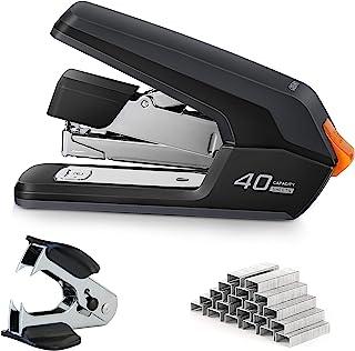 Deli Effortless Desktop Stapler, 40-50 Sheet Capacity, One Finger Touch Stapling, Easy to Load Ergonomic Heavy Duty Staple...