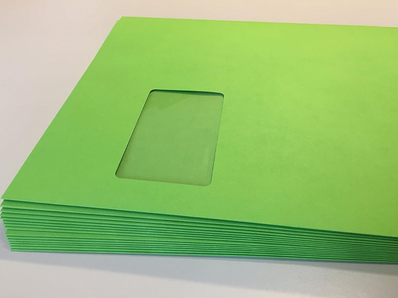 100 Briefumschläge mit laserfestem Fenster, Grün, Frühlingsgrün, Intensivgrün, Intensivgrün, Intensivgrün, Apfelgrün, C4  324 x 229 mm, mit Abziehstreifen, 120 g qm, geeignet für Laserdrucker B071LPRVMC | Neues Design  ba86b1