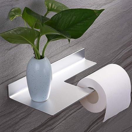Porte Papier Toilette Auto - Adhésif Porte Rouleau de Papier WC Mural pour Salle de Bain avec Support de Téléphone etagere, Aluminium