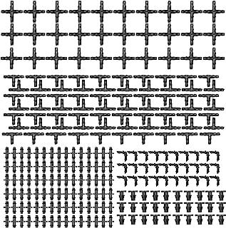 مجموعة أدوات تركيب الري 250 قطعة من جوولآر سي متوافقة مع موصلات خرطوم مياه 1/4 بوصة لأنظمة تقطيرات العشب في الحديقة (30 وص...