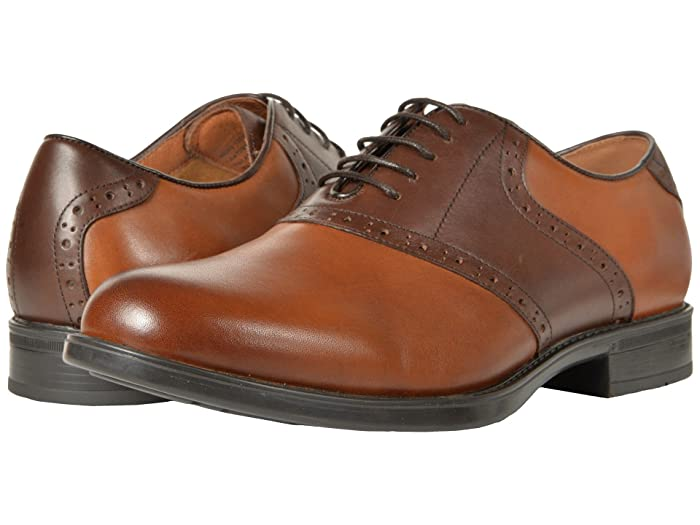 Saddle Shoes History Florsheim Midtown Saddle Oxford CognacBrown Mens Lace Up Wing Tip Shoes $109.95 AT vintagedancer.com