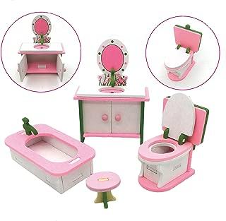 X Hot Popcorn Wooden Colorful Dolls House Furniture Toys Set Miniature Models DIY Assembled Toys (Bathroom Room)