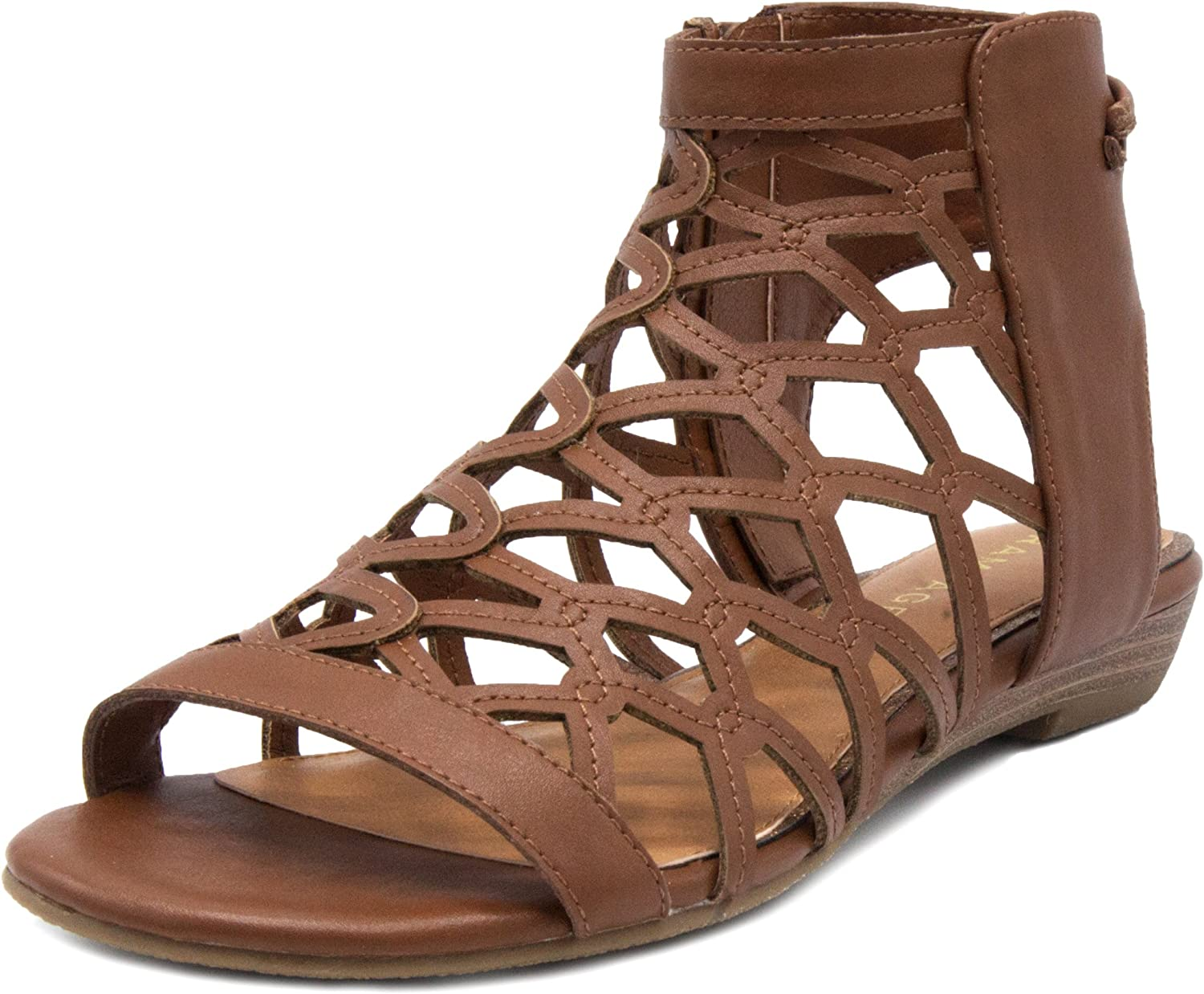 Rampage Women's Savanna Demi Wedge with Honeycomb Cutouts and Zip Up Ankle High Gladiator Sandal
