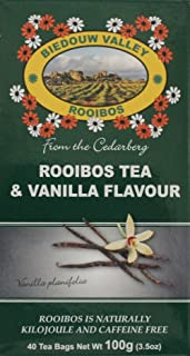Rooibos & Vanilla (5%) Tea: 100% Natural South African (40 Tagless Oxygen Bleached Bags). Caffeine & Calorie Free, Antioxidant & Mineral Rich. By Biedouw Valley
