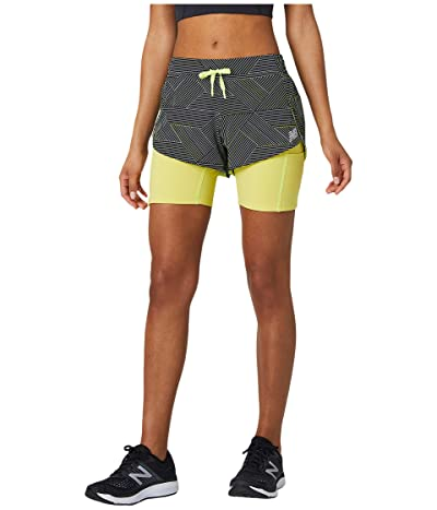 New Balance Printed Impact Run 2-in-1 Shorts (Black Multi) Women