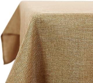 Deconovo Nappe Tissu Imperméable pour Table Rectangulaire Effet Lin 150x240 cm Brun