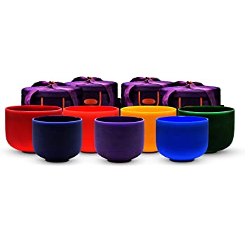 TOPFUND 6-14 inch Chakra Tuned Set of 7 Crystal Singing Bowls with Heavy Duty Carrying Case