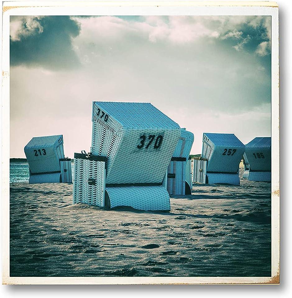 Sylt Sommer, Strandkorb, Urlaub am Meer, Foto auf Holz 22x22 cm, handmade