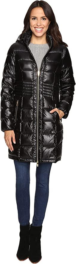 Metallic Hooded Packable Down Coat