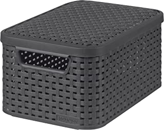 CURVER | Rangement Style Aspect rotin L + couvercle, Anthracite, Storage Others, 44,5x33x24,8 cm