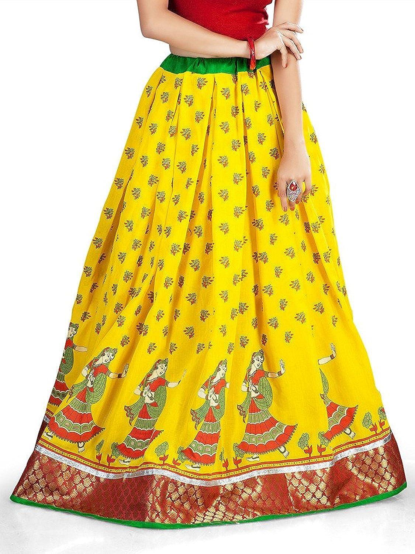 Indian Handicrfats Export Admyrin Women Yellow Spun Cotton Skirt