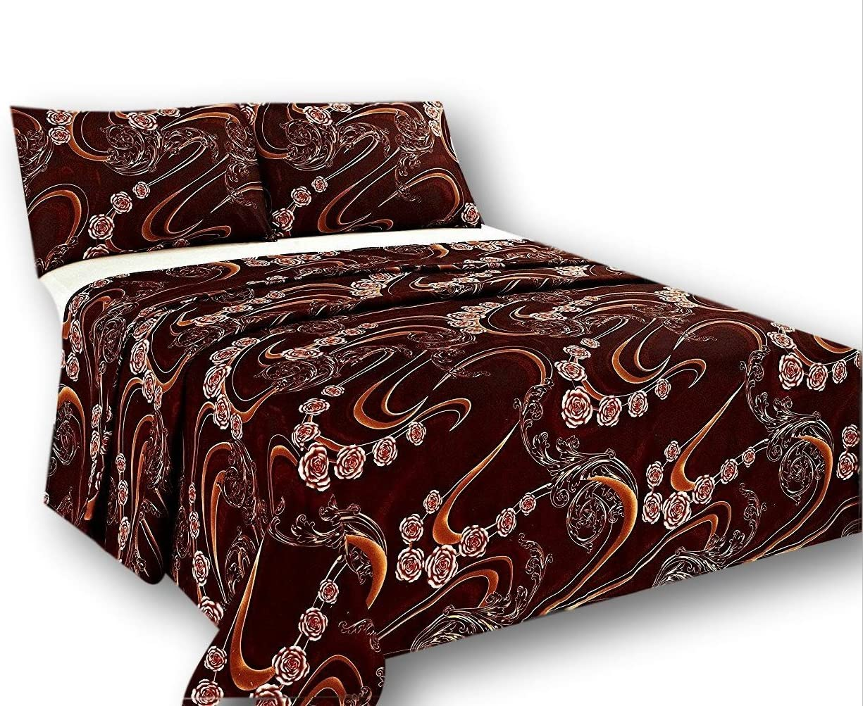 Long Beach Mall Purchase Tache Gold Paisley Brown Floral Flat Sheet - Br Melted Only