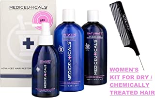 Therapro Mediceuticals Women's STARTER KIT, Shampoo + Conditioner + Cellagen Follicle SET, Normal OR Chemically-Treated Hair (w/Sleek Comb) Woman (Dry/Chemically-Treated Hair)