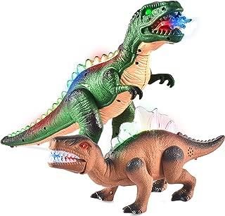 JOYIN 2 Pack Led Light Up T-Rex Walking Realistic Dinosaur Toy with Led Light & Roaring Sound
