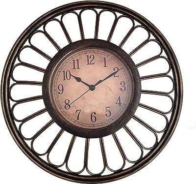 eCraftIndia ABS Plastic Analog Wall Clock (30 cm x 8 cm x 30 cm, Brown)