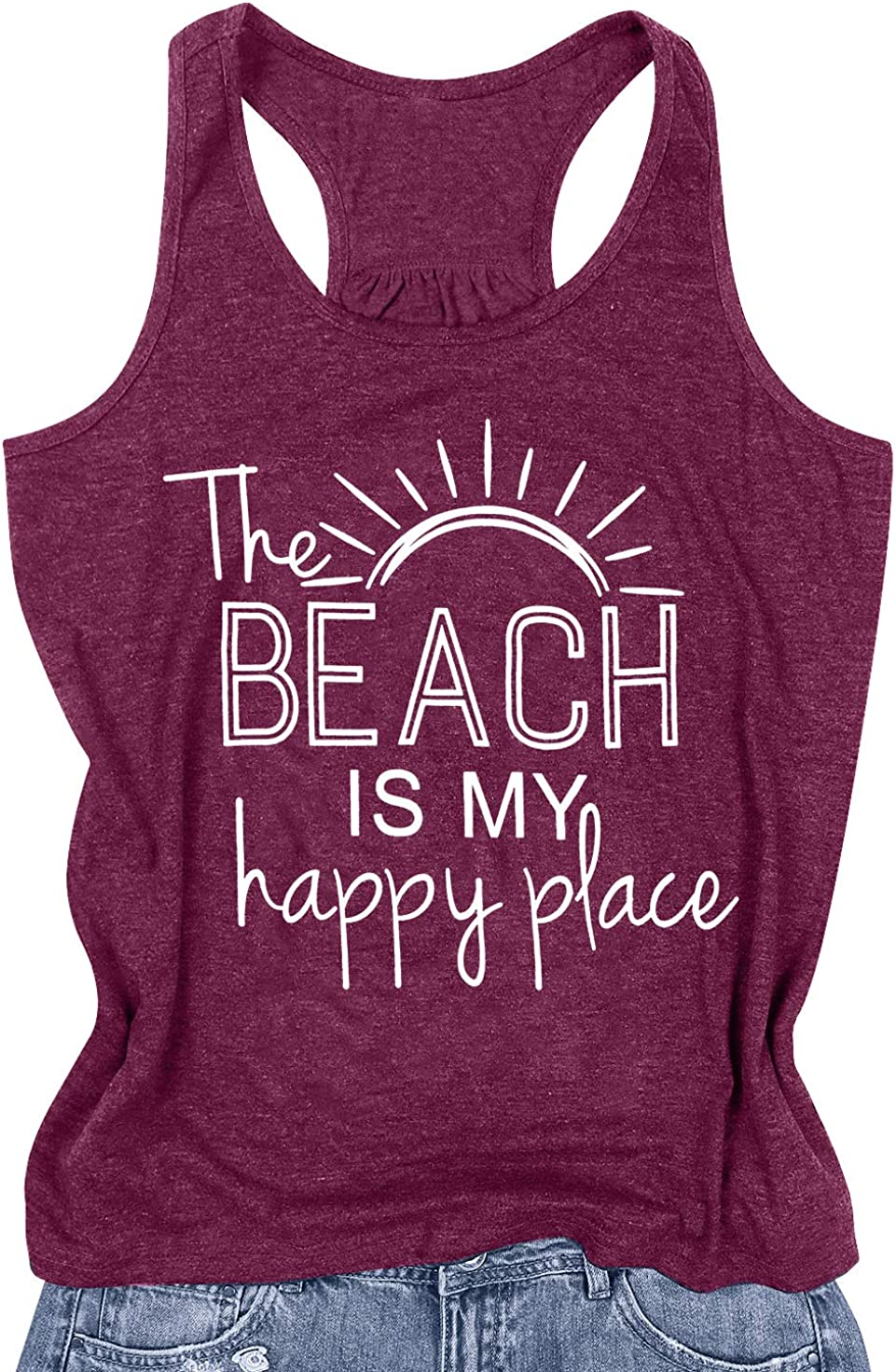 BANGELY The Beach is My Happy Place Tank Tops Women Summer Beach Tank Casual Sleeveless Vacation Shirt Camis