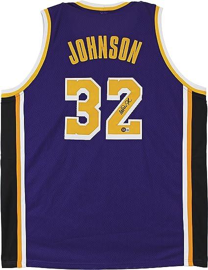 Amazon.com: Magic Johnson Authentic Signed Purple Pro Style Jersey ...
