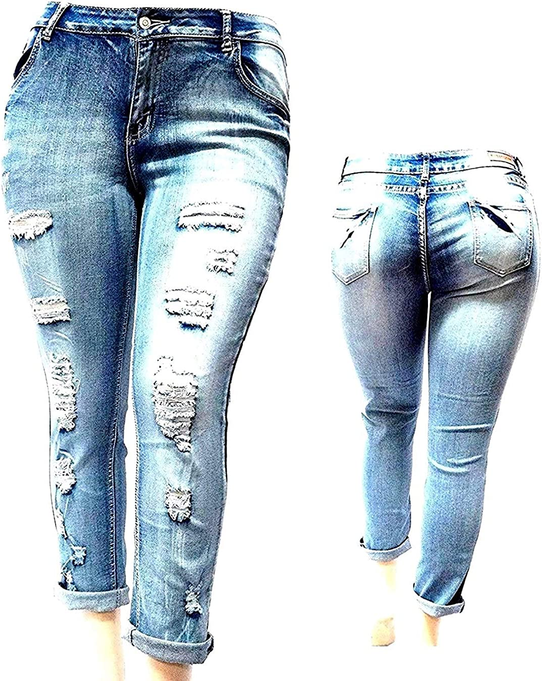 SLS Women's Plus Special price for a limited time Size Free shipping on posting reviews Stretch Distressed Ripped Deni Skinny Blue