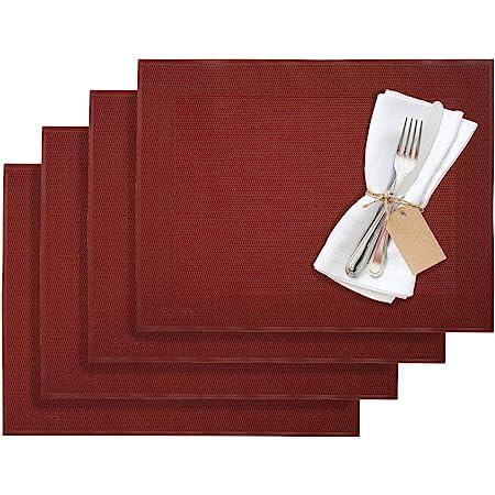 4x Tischset dunkelrot 35x45cm Platzmatte Platzset Untersetzer Tischdecke