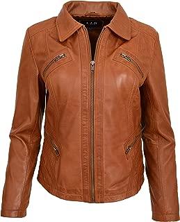 Ladies Leather Classic Biker Jacket Slim Fit Casual Zip Box Style Nova Tan